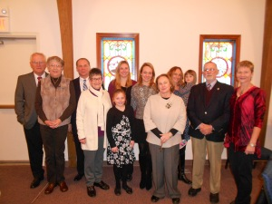 Group photo,  immediate and extended family members after the service.  Most of us were present for the visitation to hear Mr. Wieck stories.