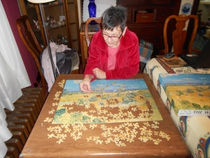 The way mom and I spend our indoor winters -- jigsaw puzzles