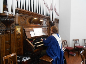 Thank the Lord our organist made it!  We're very proud of our 1911 organ, and in awe of anyone who can play it.