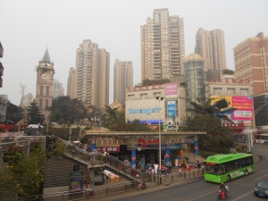 The Luzhou Protestant Church is found nestled below the tall apartment complexes in the distance.