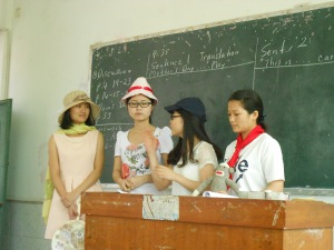 A Mother's Day skit, with thank yous given to Mom (in straw hat, to the far left) by family members.