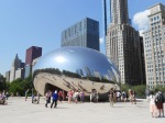"Chicago's The Cloud (named ""The Bean"" by the public) gives an impressive reflection of the city skyline."