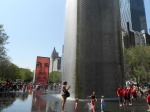 In Millennium Park, the Crown Fountain shows images of a 1,000 faces of Chicago . . .