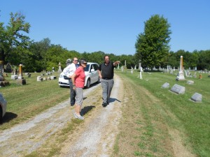 At the Marshall cemetery, Ed Pearce points out where my father's grave is located.