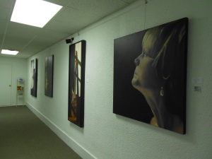 The city's local art gallery hosts a new artist, usually from the area, for a 2-week period.