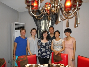 Amity staff and our Luzhou Christian church staff at a farewell luncheon (L-R:  Me, Amity Education Director Helen Zhao, new Amity teacher Denise Mountain, Pastor Zhao (behind), Pastor Liao and one of our lay leaders.