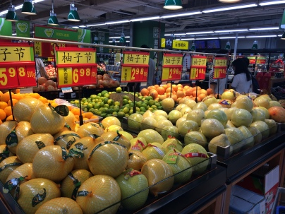Youzi (Pomelos) are being sold on streets and in groceries throughout China to be eaten during Mid-Autumn Festival night.