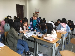 Connie in her Chinese classroom, February 2019